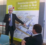 Jean-Michel Minovez présente le projet de reconstruction de l'UMT à la presse